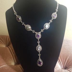 Amythest & Abalone shell silver necklace